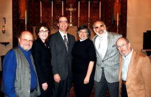 Dr. Hoffman, third from left, with (left to right) Rev. Paul Sprecher, Second Parish Unitarian Universalist; Rabbi Shira Joseph,  Congregation Sha'aray Shalom; Rev. Anne Emry, St. John the Evangelist; Rabbi Ben Lefkowitz, Temple Beth Sholom; and Rabbi Steve Arnold