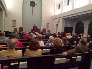 Dr. Joel M. Hoffman talking about Bible translation in First Baptist Church, Pensacola, FL.